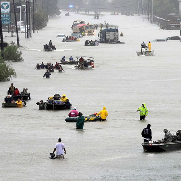 Flooded streets in Houston with victims in rafts
