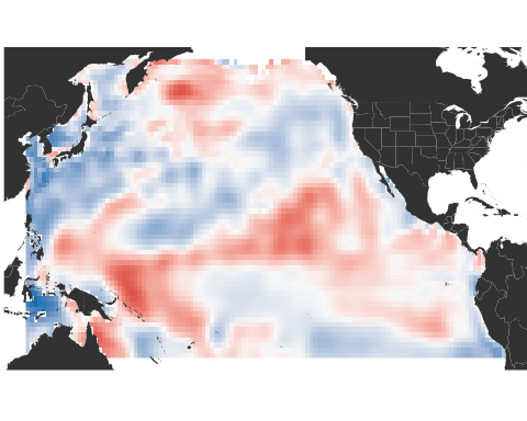 Red to blue scale image of Pacific ocean temperatures