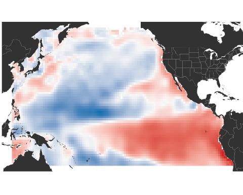 Pacific Ocean surface temperature pattern from El Niño