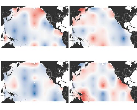 Four Pacific Ocean temperature patterns