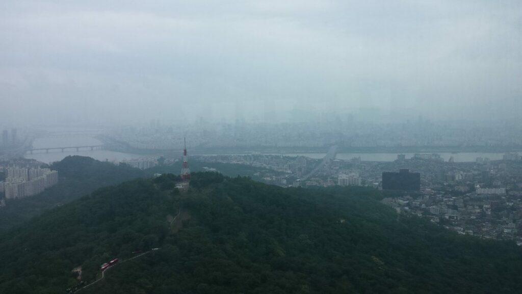 Gangnum district in Seoul on a hazy day
