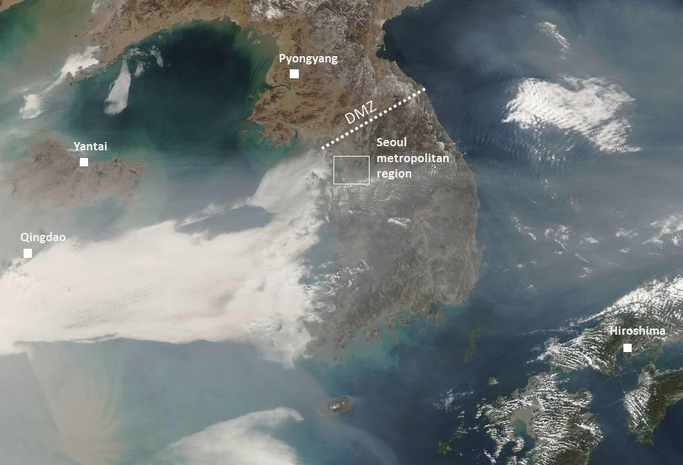 Satellite image of particulate haze over Korean peninsula