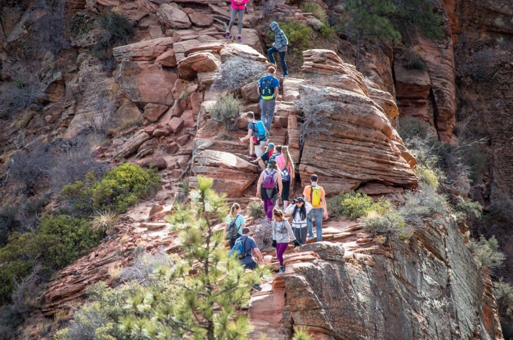 Hikers on the popular Angel's Landing trail at Zion National Park