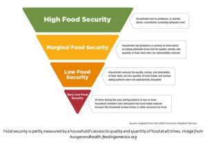 Diagram showing the levels of food insecurity and their meaning