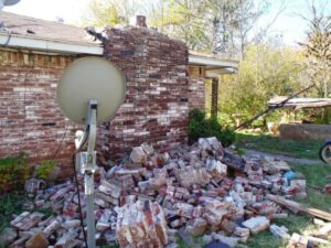 Pile a bricks that fell off of house after an earthquake in Oklahoma