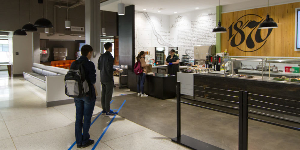 Students in line in a dining hall