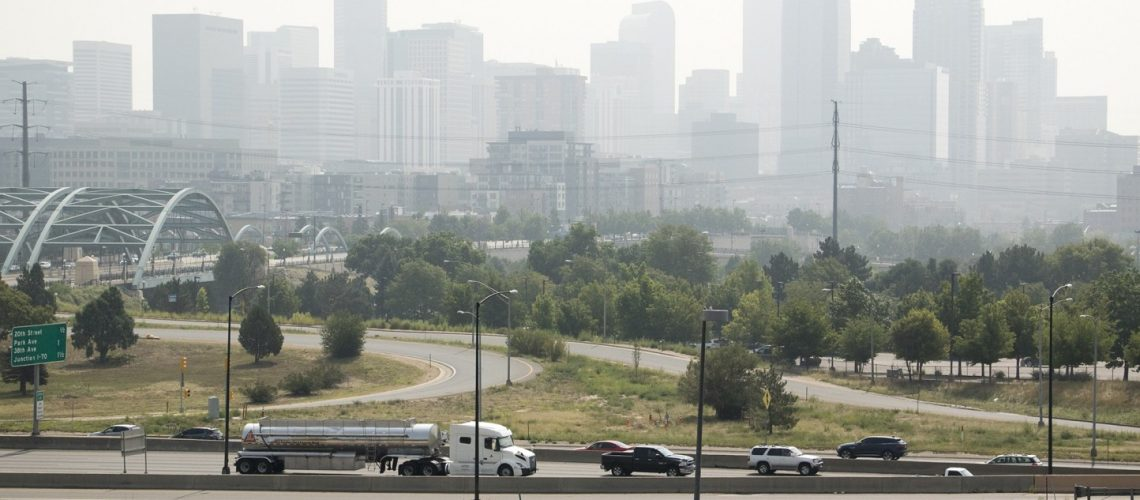 A visibly polluted day in Denver on Aug 20, 2018. Credit: CPR