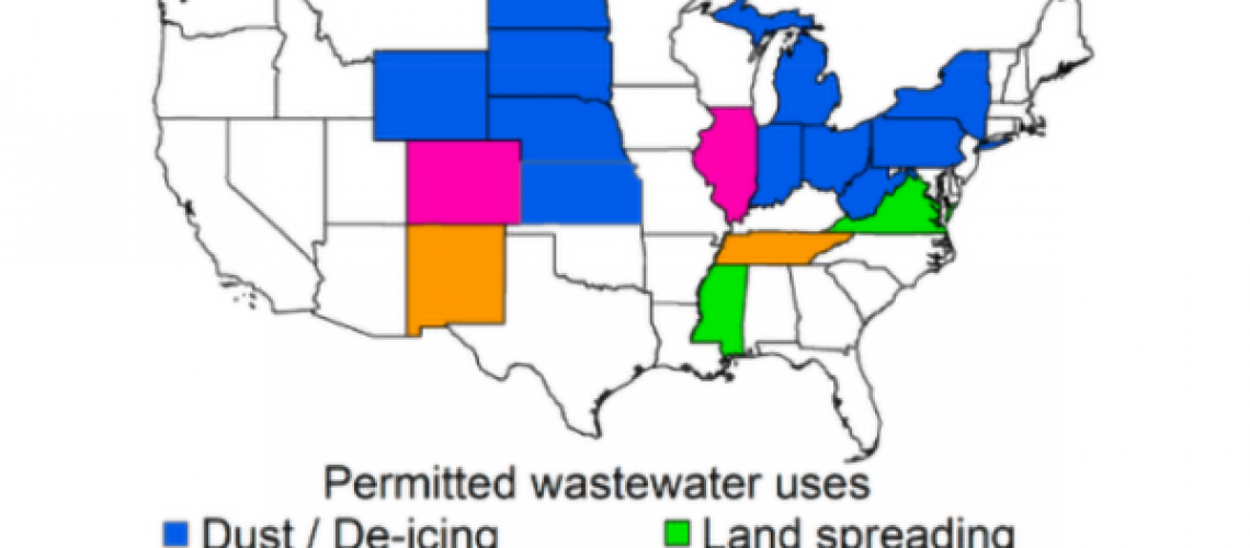 Map of states color coded for what waste water can be used for