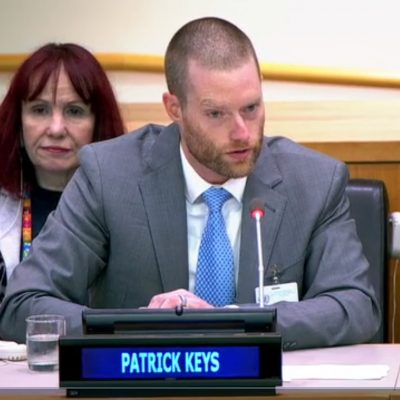 Pat Keys speaking at the UN General Assembly